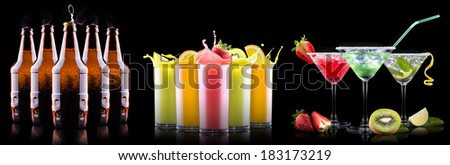 Collection of different images alcohol isolated on a black background - stock photo