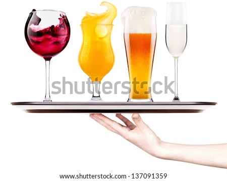 Collection of different images of alcohol isolated - cola,beer,wine,champagne - stock photo