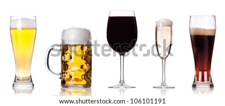 Collection of different images of alcohol isolated on a white background - stock photo