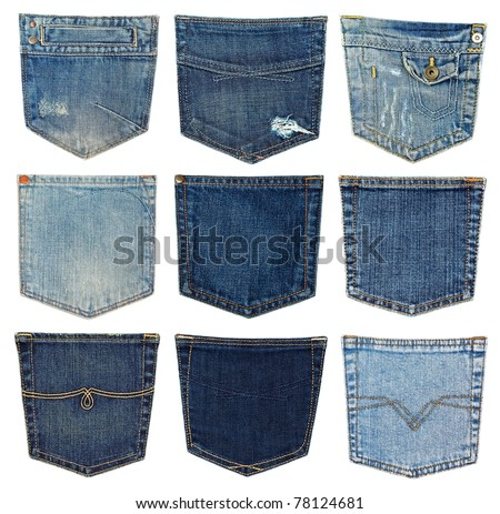 collection of different jeans pocket isolated on white. - stock photo