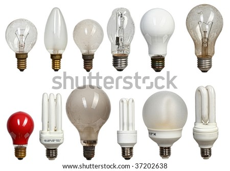 collection of different kind of light bulbs on white panel - stock photo