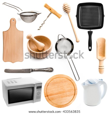Collection of different  kitchen utensilsi isolated on white background - stock photo