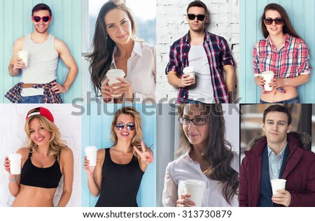 Collection of different many happy smiling young people faces caucasian women and men with coffee Concept avatar userpic social - stock photo