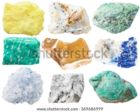 collection of different mineral rocks and stones - sulfur, pyrite crystals in quartzite, Fuchsite, amazonite, flint, lazurite with pyrite crystals, Celestine, magnesite, Malachite gem stones isolated