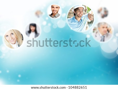 Collection of different people portraits in one community - stock photo