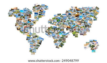 Collection of different photos placed as world map shape - stock photo