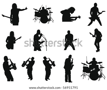 Collection of different rock and jazz silhouettes - stock photo