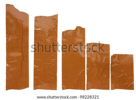 Collection of different scotch strips .Adhesive tape isolated on white background