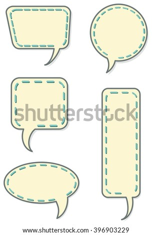 Collection of different speech bubble balloons with thread stitching and shadow - stock photo