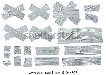 Collection of different stripes of masking tape. All isolated on plain white background. - stock photo