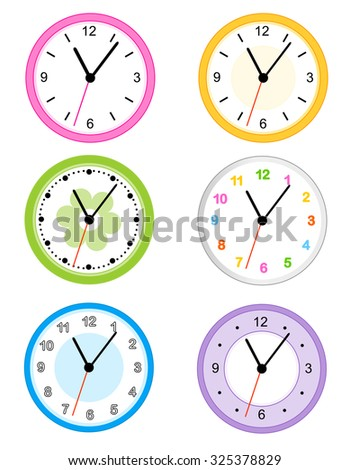 Collection of different type cute and colorful wall clock faces isolated on white background illustration - stock photo