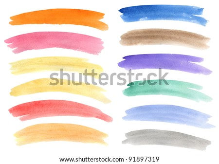 collection of different watercolor banners - stock photo