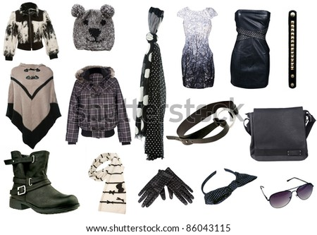 collection of different, woman clothing in black and white tones for winter - stock photo
