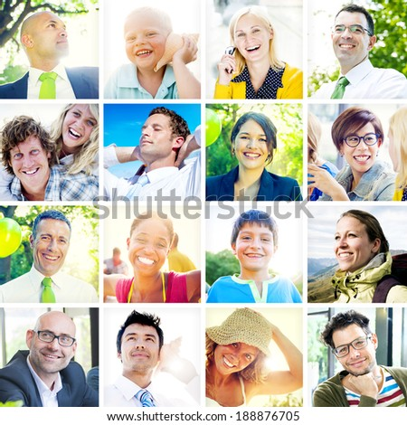 Collection of Diverse Happy People - stock photo