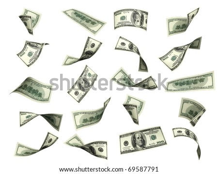 Collection of dollar banknotes. Isolated over white - stock photo