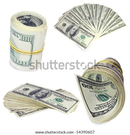 Collection of dollars - stock photo