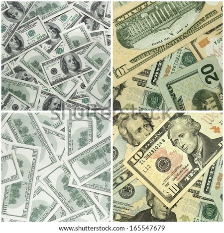 collection of dollars background - stock photo