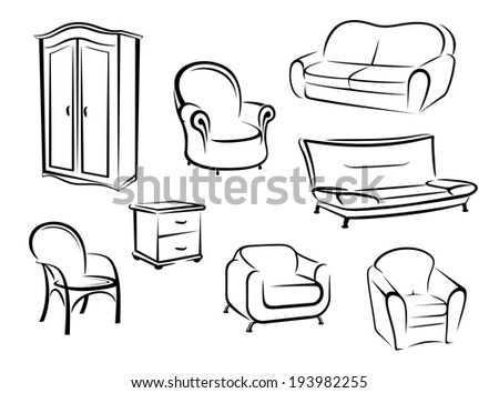 Collection of doodle sketches in black and white furniture designs showing a wardrobe, couch, sofa and various chairs. Vector version also available in gallery - stock photo