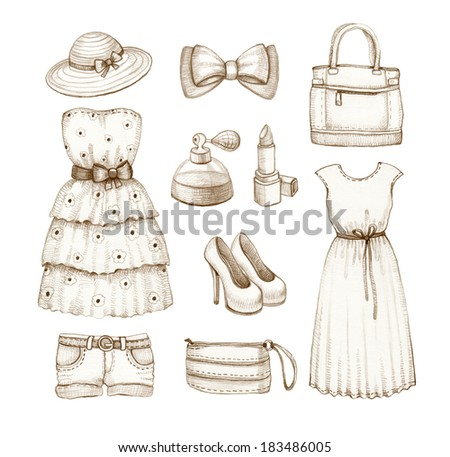 Collection of dresses and accessories drawings - stock photo