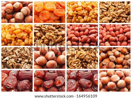 Collection of dried fruits and nuts backgrounds - stock photo
