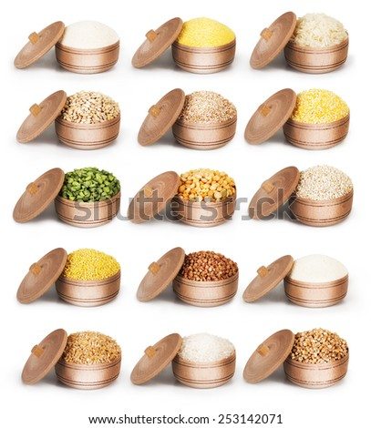 Collection of dry cereals in a wooden bowl - stock photo