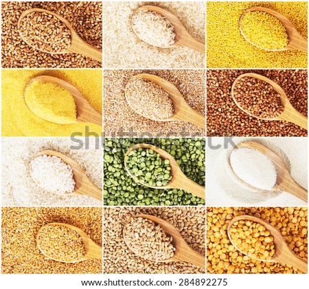 Collection of dry cereals on a wooden spoon - stock photo