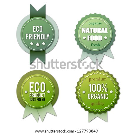 Collection of eco badges isolated on white background. - stock photo