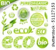 Collection of eco signs, labels and emblems - stock photo