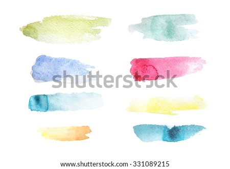 Collection of eight long watercolor stains in different colors. - stock photo
