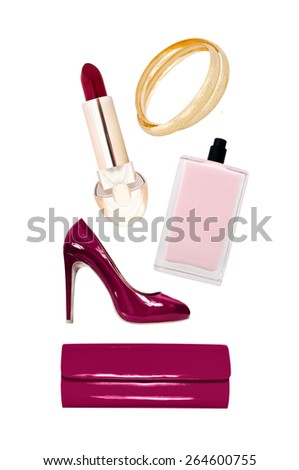 collection of elegant accessories on a white background - stock photo