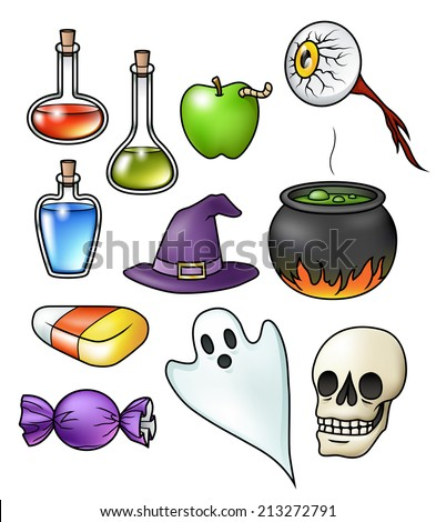 Collection of eleven halloween illustrations, isolated on white. Raster. - stock photo