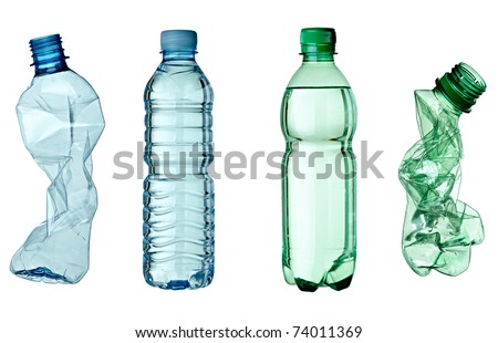 collection of empty used plastic bottles on white background. each one is shot separately - stock photo