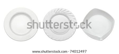 collection of empty white plates on white background. each one is shot separately - stock photo