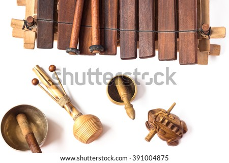 collection of ethnic instruments isolated on white. - stock photo