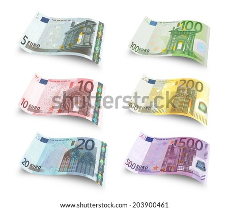 Collection of euro banknotes. Isolated over white - stock photo