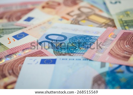 Collection of European Euros from an Angle - stock photo