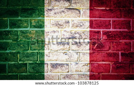 Collection of european flag on old brick wall texture background, Italy - stock photo