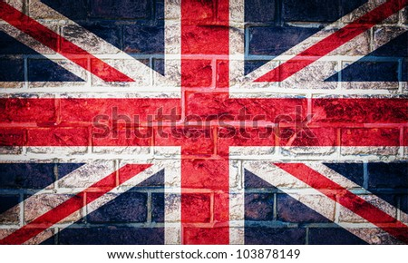 Collection of european flag on old brick wall texture background, UK - stock photo
