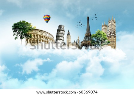 Collection of European monuments - stock photo