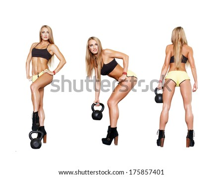 Collection of exercises with kettlebell, sexy fitness model, isolated on white - stock photo