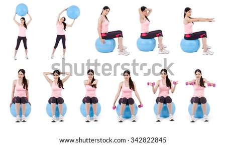 collection of exercises with the ball - stock photo