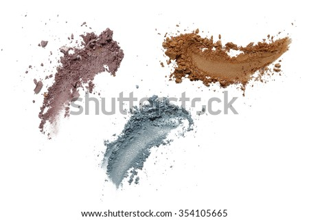 Collection of eyeshadow make up on white background. Isolated - stock photo
