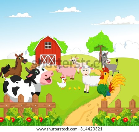 collection of farm animals with background - stock photo