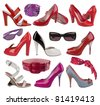 collection of fashion shoes - stock photo