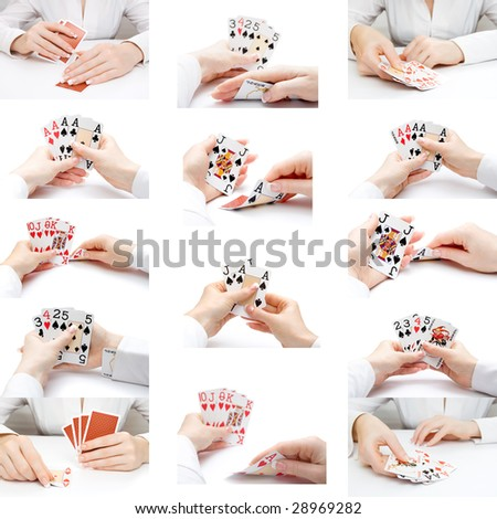 Collection of female hands playing cards, over white - stock photo
