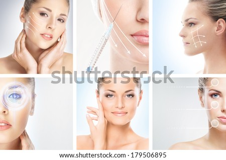 Collection of female portraits with the different effects (plastic and eye surgery, cosmetology, makeup and healthy lifestyle concept) - stock photo