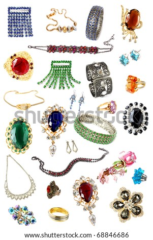 collection of feminine accessories over white - stock photo