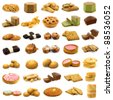 collection of fine pastry, cookies,cakes and bread on white background - stock photo