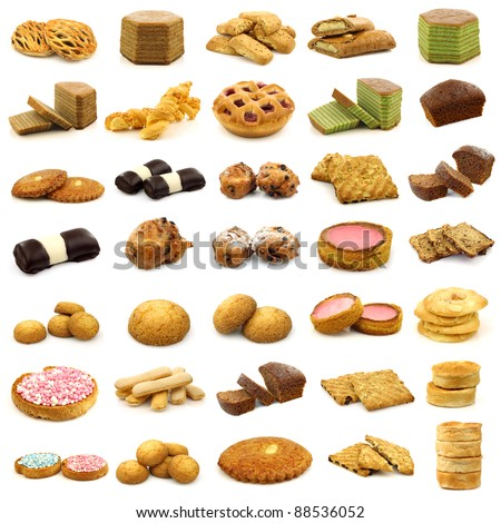 collection of fine pastry, cookies,cakes and bread on white background