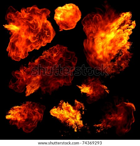 Collection of fireballs isolated on black - stock photo